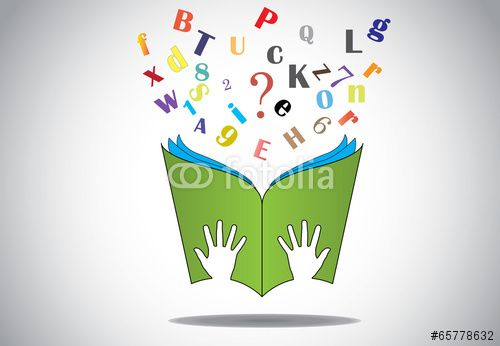Vector: hand holding open book with flying alphabets n question mark