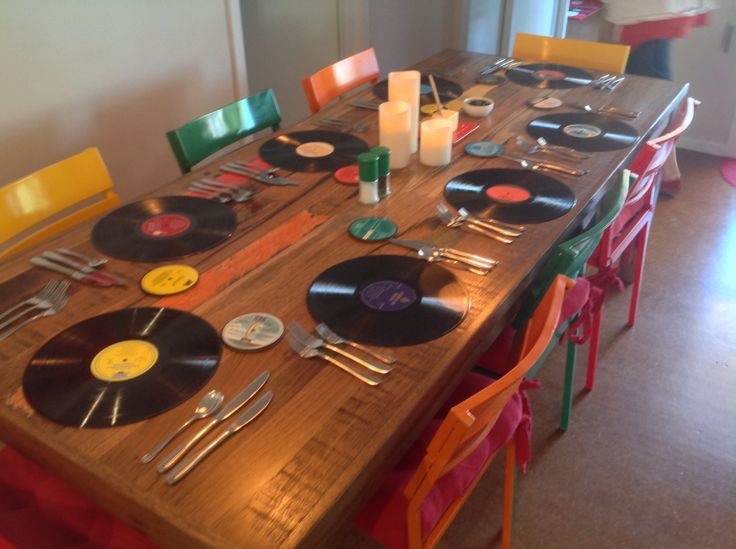 My table setting using old vinyl LP's and the coasters are the LP labels.