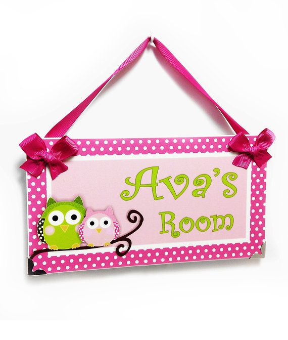 Personalized Owls Bedroom Decor Kids Door Signs Girls Nursery Bubblegum Pink And Green Decor P2073