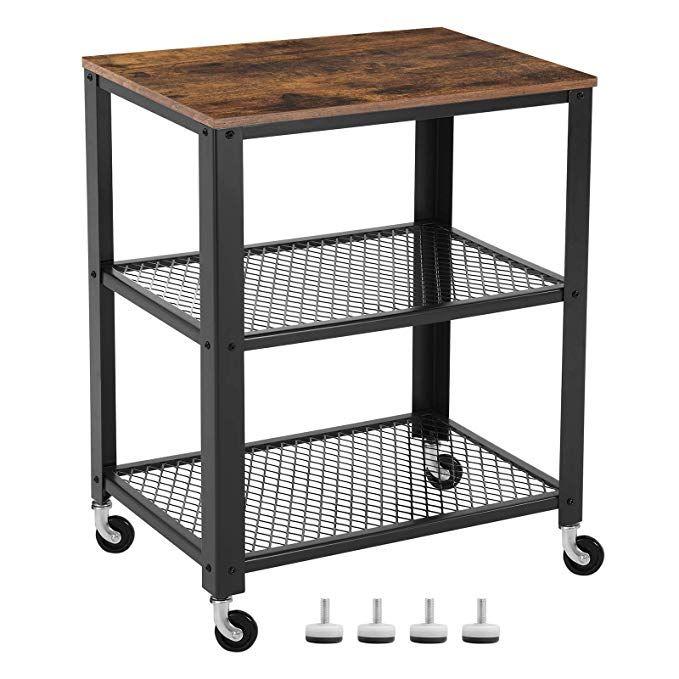 Amazon Com Songmics Vintage Serving Cart 3 Tier Kitchen Utility Cart On Wheels With Storage For Living Room Wood Look Accent S Izobrazheniyami Industrialnyj Stil Stoleshnica