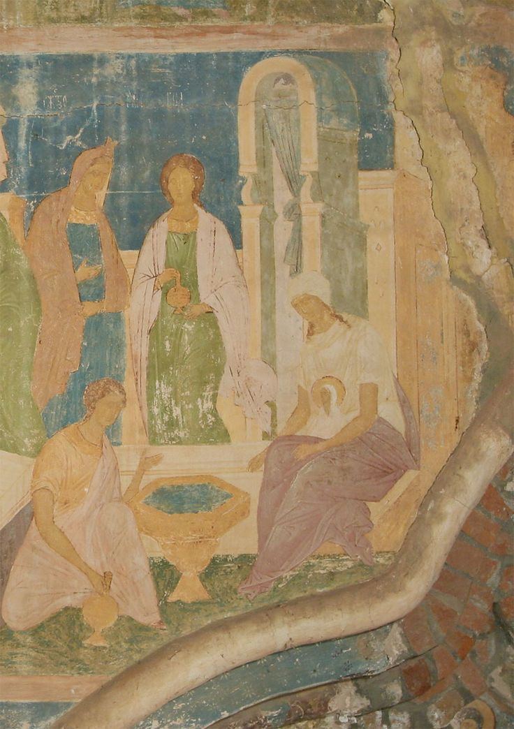 Музей фресок Дионисия - Западный фасад - Купание Марии