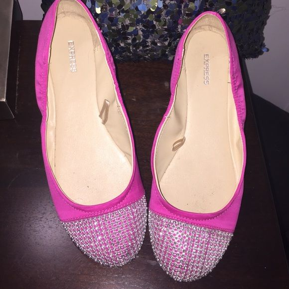 Express -- hot pink ballet flat with bling on toe! So snazzy make a statement while being comfy! Express Shoes Flats & Loafers