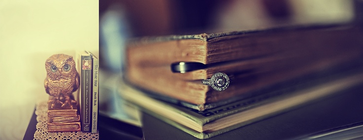 Cool ring idea for wedding shoot...but with a bible instead