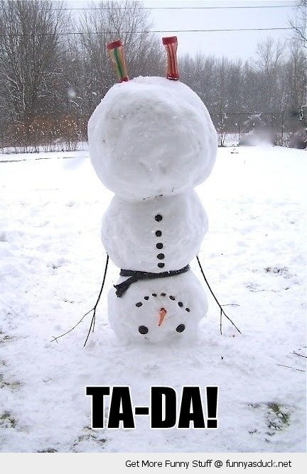 ta-da+snowman | upside down handstand snowman trick ta da snow winter funny pics ...