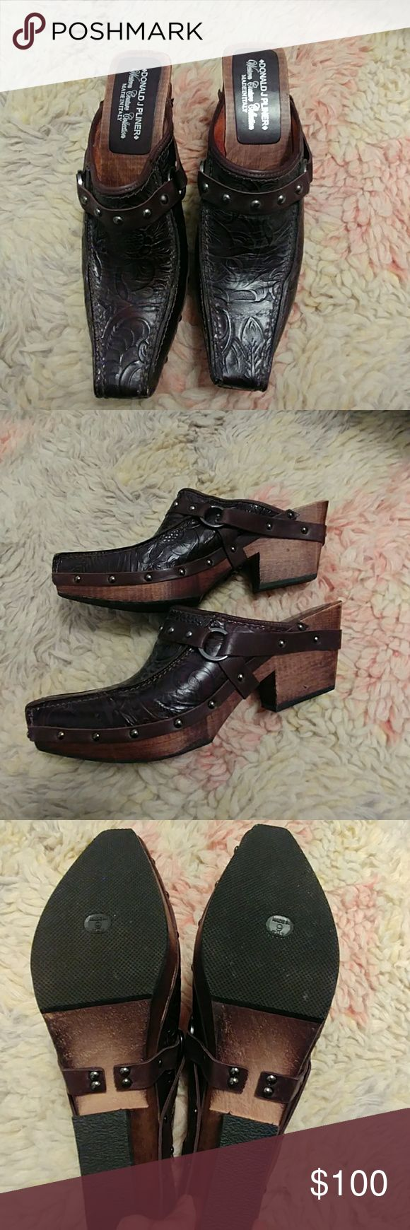 Donald J Oliver Western Couture Mules Never Worn Donald J Pliner Wester Couture Collection Brown Mules. Chocolate Brown Leather and Wood Design. Donald J. Pliner Shoes Mules & Clogs