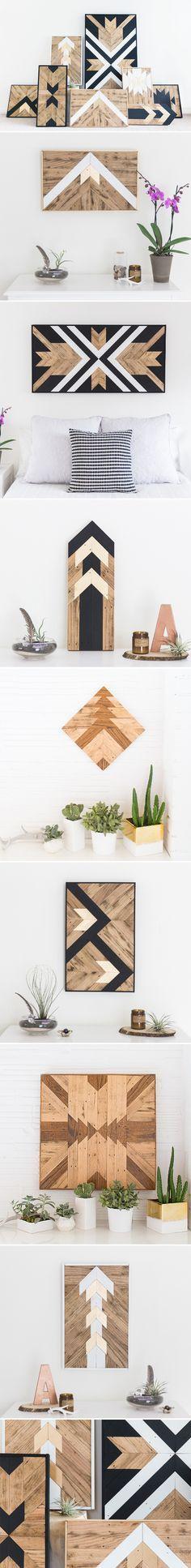 DIY Bois - tableau en bois. De splendides tableaux en bois à réaliser avec quelques lames de parements bois et/ou des tasseaux de bois de Gascogne Bois. Regroupez des tasseaux, choisissez votre modèle et lancez-vous! Inspirez vous des exemples ci-dessus pour réaliser votre propre design original. Une décoration en bois unique pour votre intérieur! Retrouvez des produits bois sur le site http://www.gascognebois.com/ #diy #bois #art #design #wood
