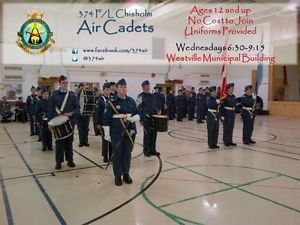 Be an Air Cadet - As an Air Cadet, you can Be part of a team in Band, Marksmanship, Drill, Sports, Biathlon, Pipes & Drums; Learn and experience aviation & aerospace, wilderness survival, Air Rifle shooting, leadership and instructional techniques; Go flying, visit military bases, attend summer camps and international exchanges; Earn qualifications like Glider Pilot, Private pilot license, First Aid, There is no cost to join and participate.