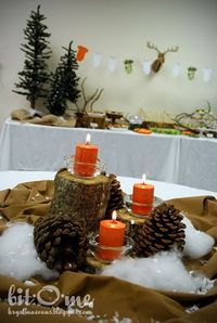 hunting theme baby shower (also great for wedding centerpiece if youre going for the rustic country outdoors look)
