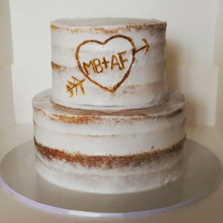 Semi Naked Wedding Cake with initials