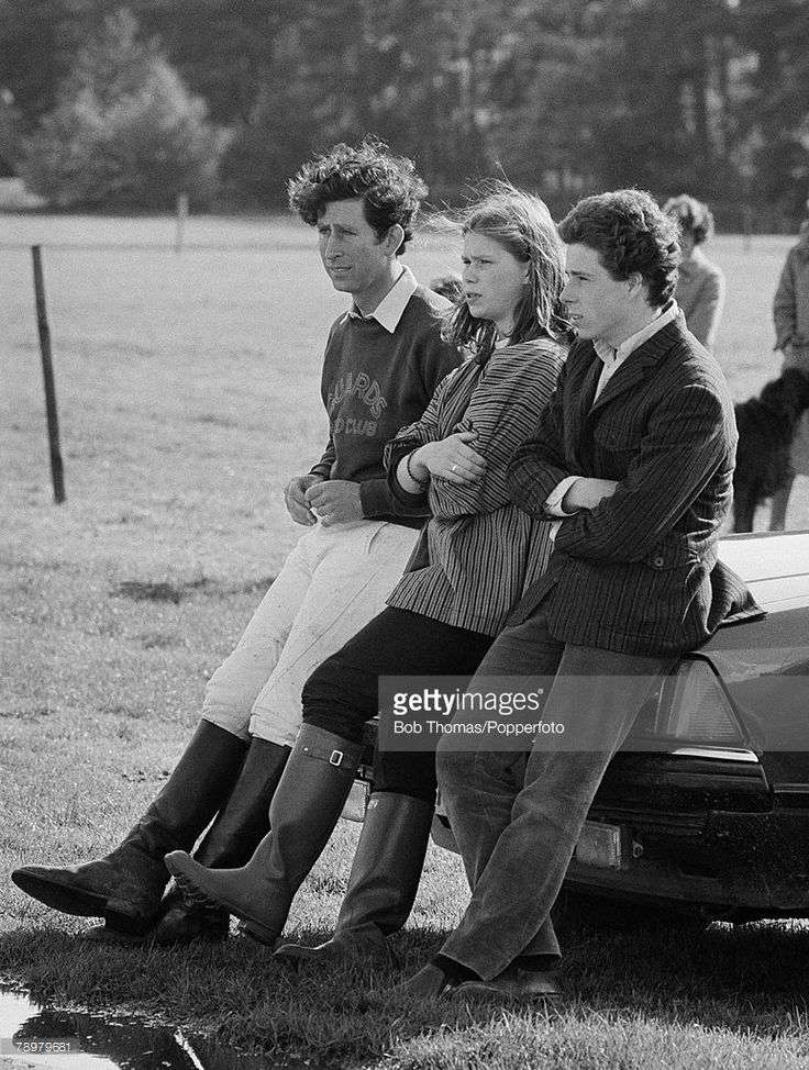 British Royalty, Windsor, England, Circa 1980, Prince Charles with Viscount Linley and Lady Sarah Armstrong Jones watch the polo