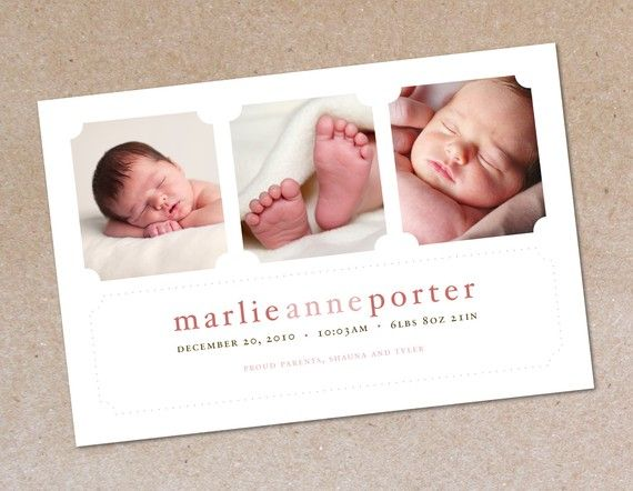 Modern Three Photo Birth Announcement Baby Girl by oodlesofcolor- Etsy.
