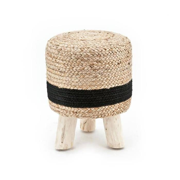 By-Boo Kruk Zwart Naturel Jute - Ø33xH42 cm - Sweet Living Shop