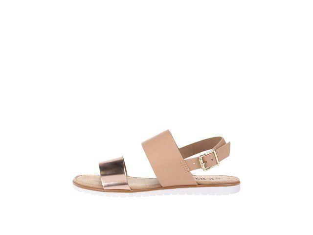 Hnědé kožené sandály s metalickým páskem s.Oliver -