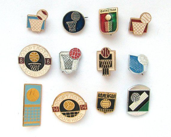Sports Soviet Badge Kinds Of Sport Pick From Set Basketball
