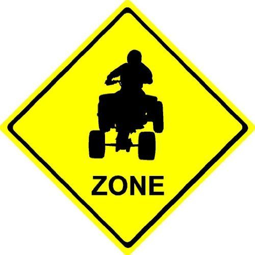 Mini 8x8 Plastic Quad Four Wheeler ATV ZONE sport novelty crossing sign for indoors or outdoors by Beach Graphic Pros. $11.99. This is a Plastic sign 2 mil thick (as thick as 2-3 credit cards stacked) with vinyl graphics applied. We have several sizes avail in aluminum and less expensive plastic check out or store for other options. Can be used outside or inside. Corners are rounded.
