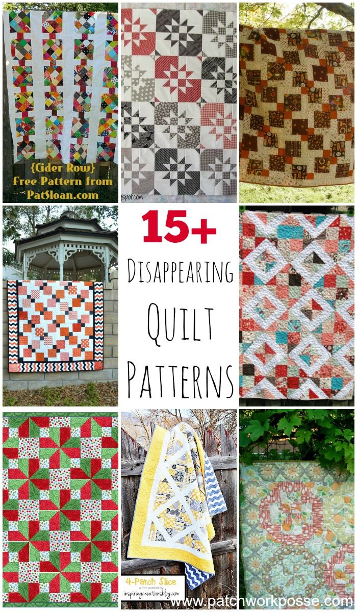 free disappearing quilt patterns 15 tutorials Simple blocks to start with- stunning quilts at the finish.