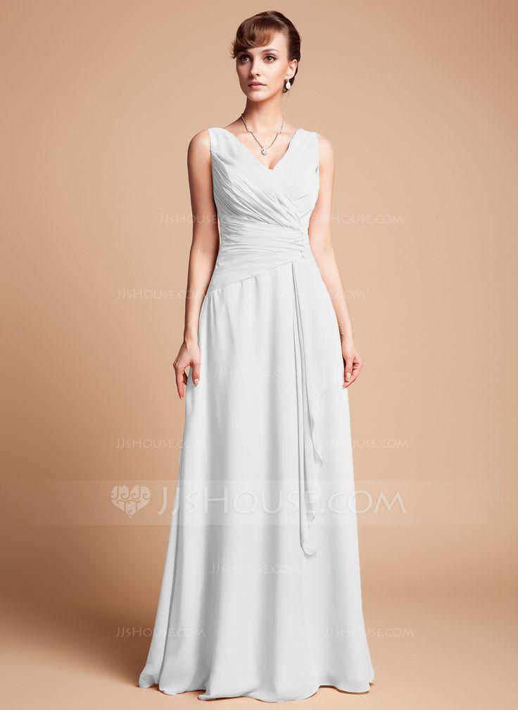 A-Line/Princess V-neck Floor-Length Beading Cascading Ruffles Zipper Up Regular Straps Sleeveless No White Spring Summer Fall General Plus Chiffon Mother of the Bride Dress