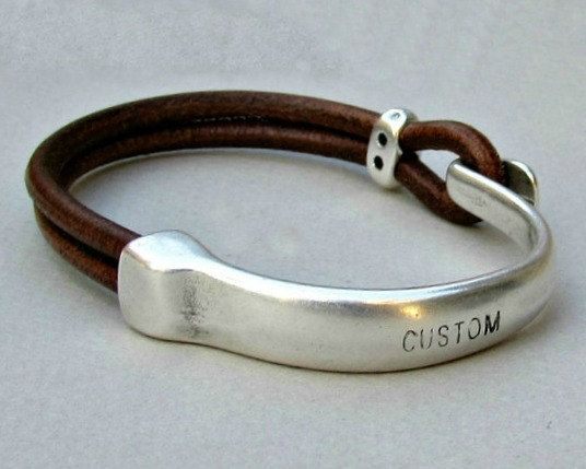 Mens Personalized Bracelet Engraved Mens Leather Bracelet