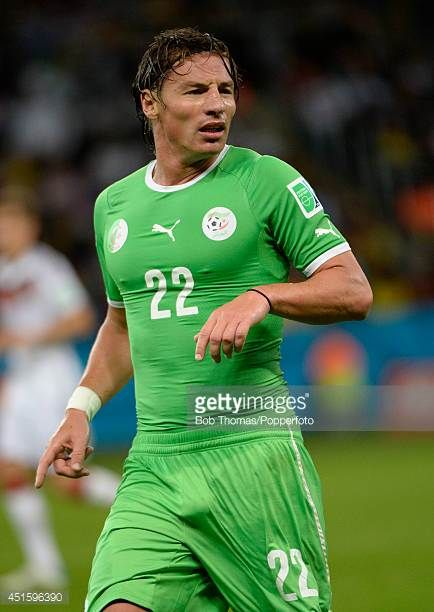 Mehdi Mostefa in action for Algeria during the 2014 FIFA World Cup Brazil Round of 16 match between Germany and Algeria at Estadio BeiraRio on June...