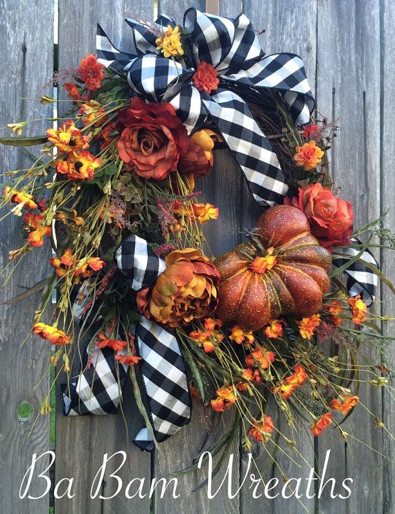 Fall Wreath, Autumn Wreath, Fall Floral, Fall Door, Autumn Floral, Autumn Decor, Fall Decor Let your door have the WOW factor! Your door would be stunning & fun all in one with this lovely rustic combination of elegant checkered black & white designer ribbon, gorgeous Fall florals, orange, sprays of berries & greenery and a beautiful pumpkin~ this wreath has it all! I hope you enjoy all the fine details- I pride myself in creating one of a kind wreaths- and this one is worthy of ...