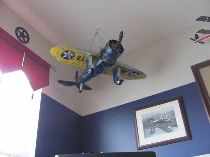 Airplane ceiling hanging big boy bedroom ideas for Aviation decoration ideas