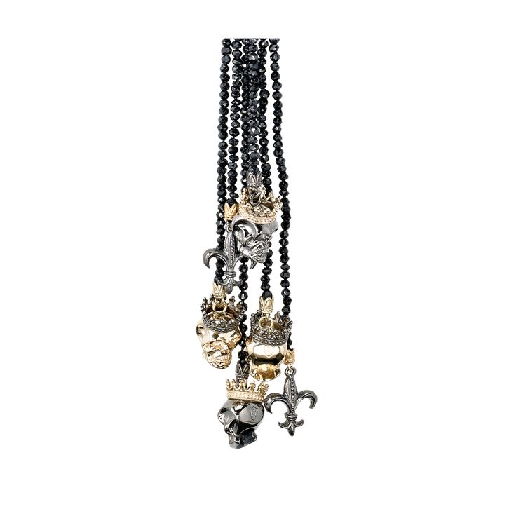 Another killer lariat necklace from Scott Kay. This one featured fleur de lys and crowned skulls, perfect for Halloween. Style NL1009ASBVPSR36.