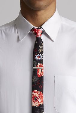 Floral Tie w/ Silver Tie Bar - Skinny Tie Madness - Ties and Suiting Accessories : JackThreads