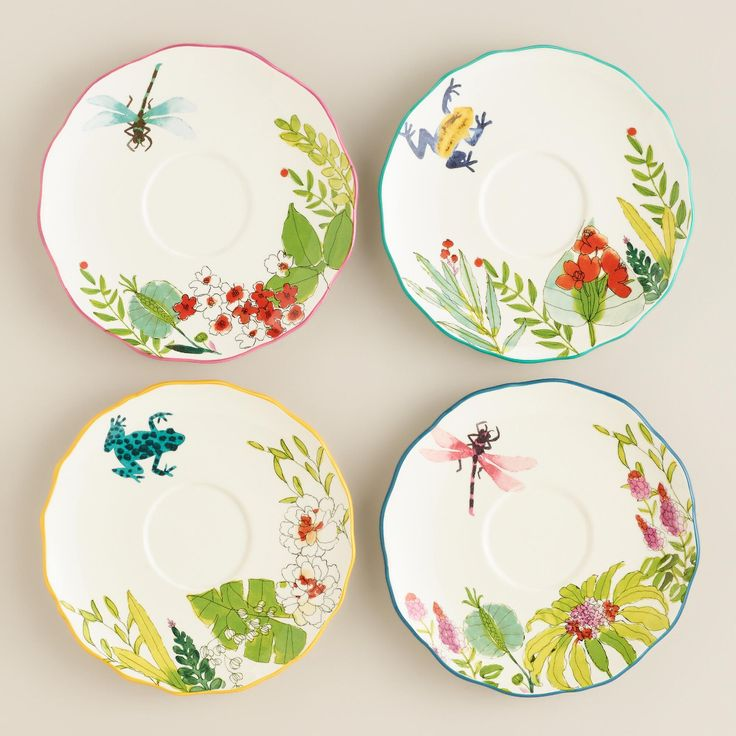 Our bright and whimsical earthenware teacups feature tropical frog and dragonfly designs, solid-color handles and matching saucers. Coordinate these exclusive teacups and saucers with our matching plates and bowls to add a pop of color to your table.