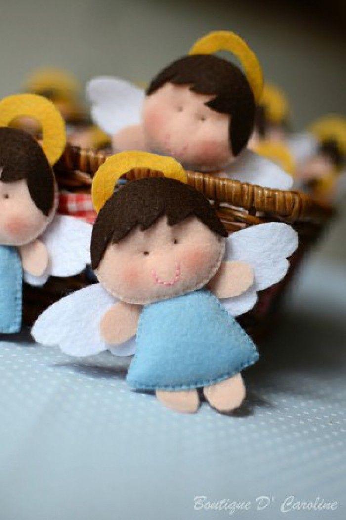 lieve vilten engeltjes. Leuk voor aan een cadeautje of voor in de kerstboom