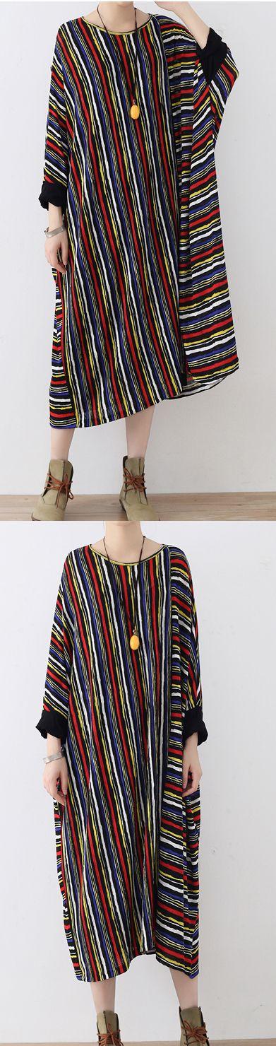 2017 fall stylish striped casual cotton dresses plus szie asymmetric maxi dresses