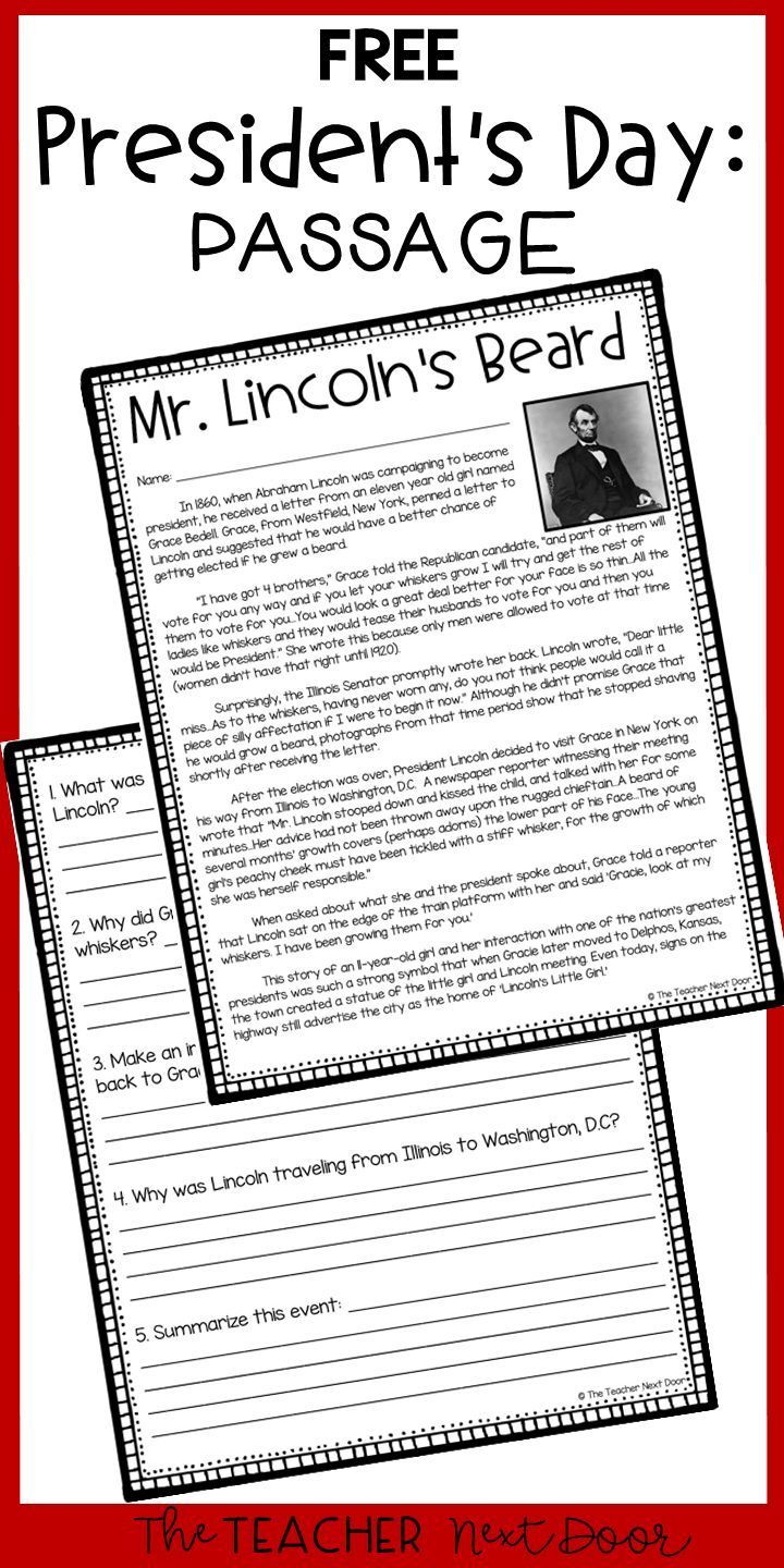 President S Day Freebie Mr Lincoln S Beard President S Day Activity Teaching Reading Third Grade Reading 4th Grade Reading [ 1440 x 720 Pixel ]