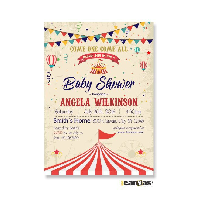 Circus Tent Baby Shower Invitation, Circus BabyShower Theme, Carnival Baby Shower Invite, Circus Tent Baby Shower. Carnival invitations 197 by 800Canvas on Etsy