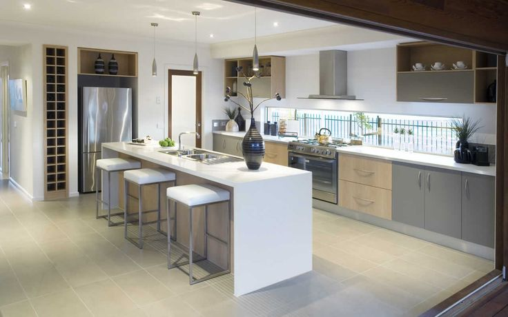 Top Cupboards interspaced with open shelves