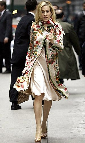 Love the tapestry print coat and chic little scarf.