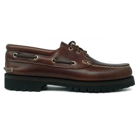 Zapato náutico clásico en piel color marrón de Ashcroft vista lateral