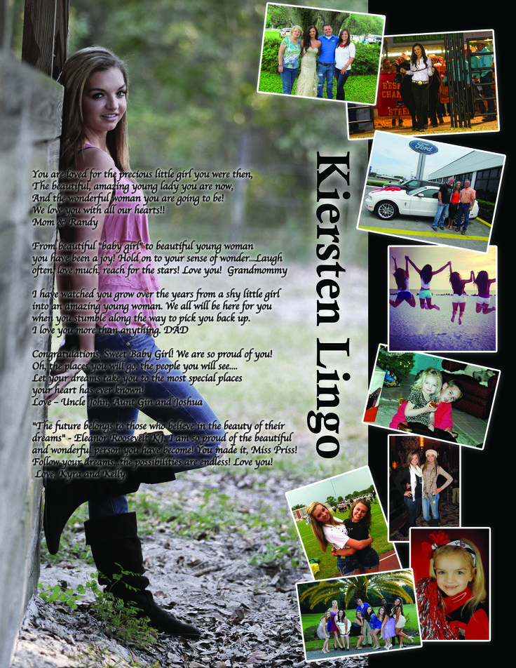 2014 Student created Senior Yearbook Ad for Pasco High School Yearbook. Really like the Large Dominant Photo.