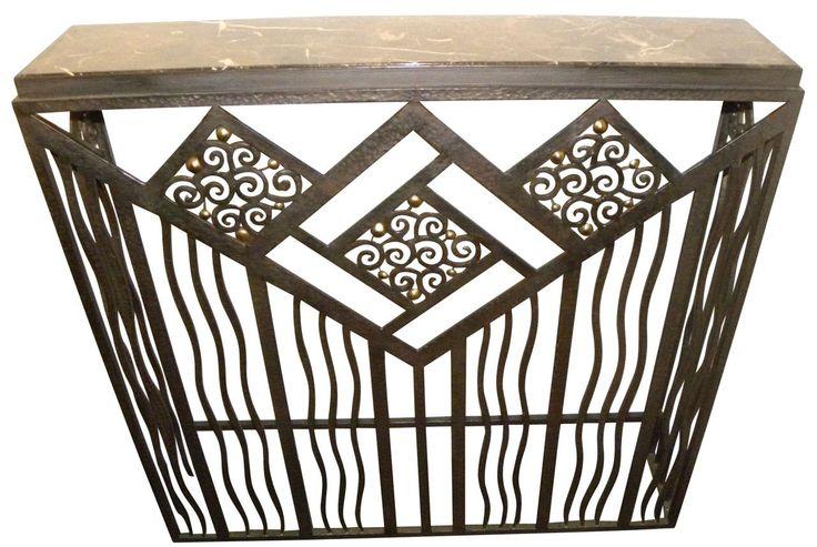 Art deco consoles for sale: side tables, iron, wood, custom, hallway