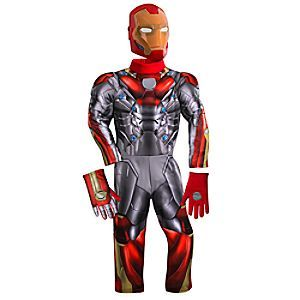 Size 5/6 Tony Stark's latest upgrade to his Iron Man armor - as seen in <i>Spider-Man: Homecoming</i> - makes a Disney Store costume debut with this full-stretch muscled bodysuit featuring light-up chest ''arc reactor,'' plus gloves and face mask.