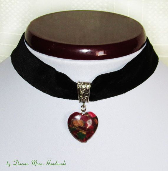 Heart choker Heart necklace gemstone choker by DacianMoonHandmade