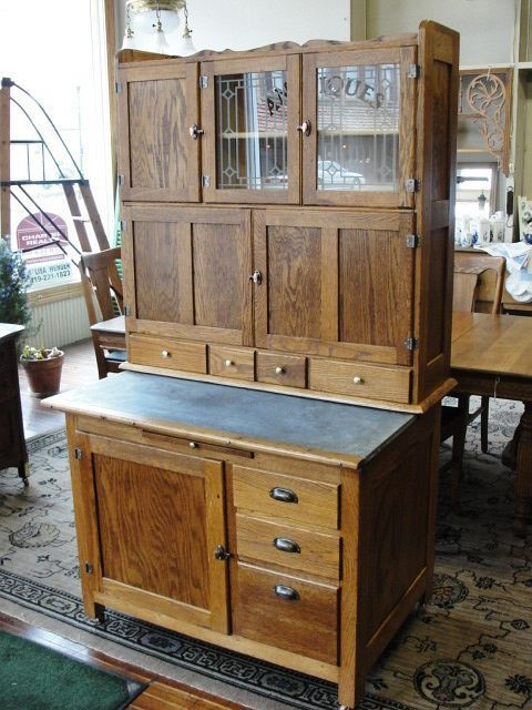 Vintage Hoosier Style Oak Kitchen Cabinet - Shop RubyLane.com for great #vintagekitchen furniture and more