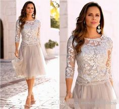 2016 Champagne Short Mother Of The Bride Dresses For Women Formal Party Gown Long Sleeve Lace Applique Tea Length Groom Wedding Guest Dress Mother Of The Bride Plus Size Dresses With Jackets Mother Of The Groom Dresses For Summer Outdoor Wedding From Myweddingdress, $131.76| Dhgate.Com