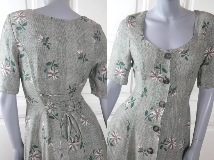 Austrian Vintage Floral Dress, Pale Green Gray Cream Colored Edelweiss Flower Pattern European Linen-Blend Midi Dress: Size 6 US, Size 10 UK by YouLookAmazing on Etsy