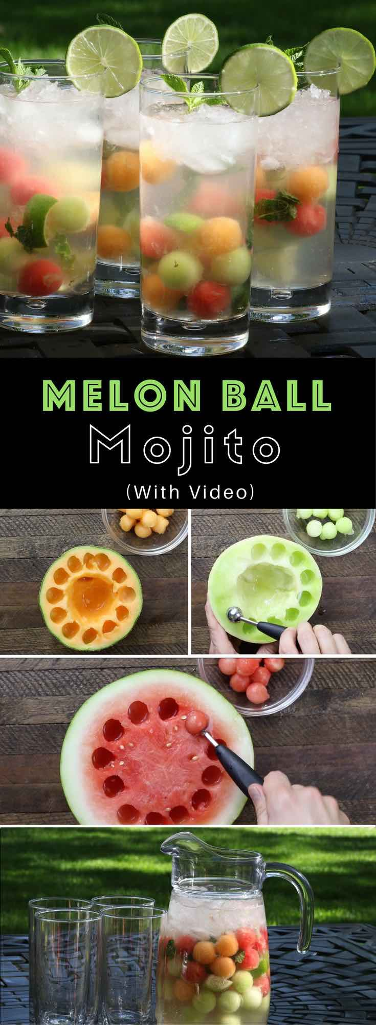 Easy Melon Ball Mojitos – the classic mojito cocktail fused with the sweetness and freshness of melon balls, delivering this refreshing and beautiful drink. All you need is only a few ingredients: mint, watermelon, cantaloupe and honeydew melons.