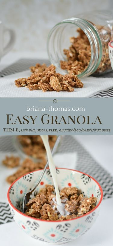 This easy granola uses leftover oatmeal and brown rice!  It's super easy.  THM:E, low fat, sugar free, gluten/egg/dairy/nut free