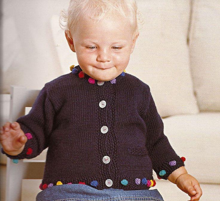 """Un'idea per rallegrare un golfino ,tante palline da fare con gli avanzi di lana e il punto """"nocciolina"""",e..tanta pazienza! Da """"Adorable knits for tiny tots"""" di Zoe Mellor"""" si compra qui: Vi do per ..."""