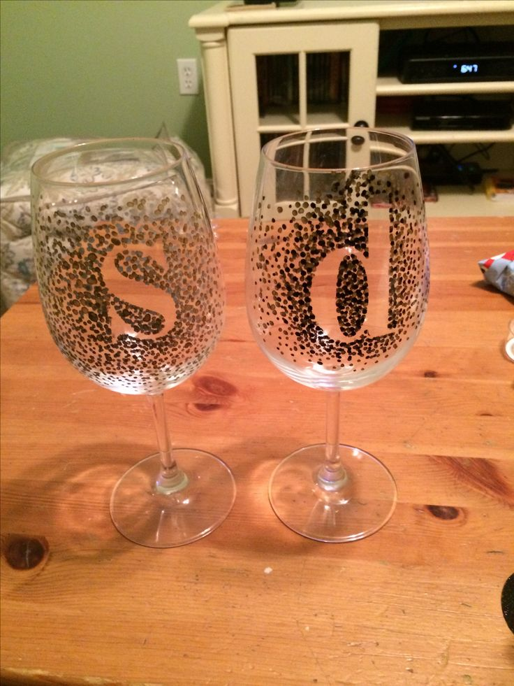Dot initial wine glasses. Sharpie paint pens, scrapbook letters then cute in oven @ 350 for 30 mins.