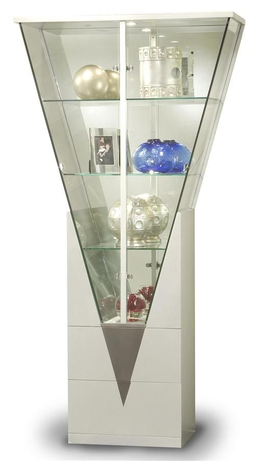 For Our Minis Contemporary Triangular Glass Curio Cabinet