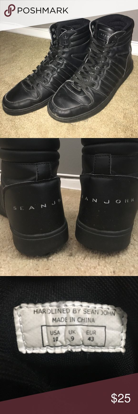 Sean John Mens high tops Size 10 men's high tops, quality black leather with silver embossed lettering, worn twice, great condition, price negotiable Sean John Shoes Sneakers