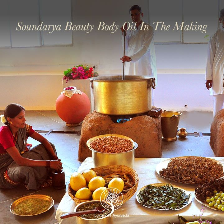 Here's a sneak peek into One of the processes of making Soundarya Beauty Body Oil at our Lodsi workshop.