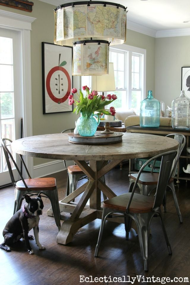 Love This Round Farmhouse Dining Table And Industrial Chairs  Eclecticallyvintage.com